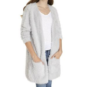 Free People Faux Fur Cardigan Silver NWOT Medium